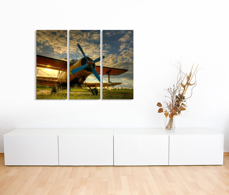 Leinwandbild Flugzeug Doppeldecker vorn vorn mit Popeller bei Sonnenaufgang